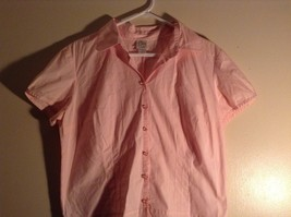 Salmon Pink Button Up Stretch Short Sleeve Shirt Size XL image 4