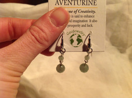 Attractive Aventurine Stone Dangling Silver Tone Earrings Hook Pack GeoJewelry  image 5