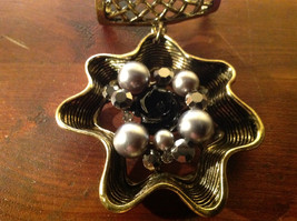 Attractive Metallic Beads Crystals and Black Flower Gold Tone Scarf Pendant image 2