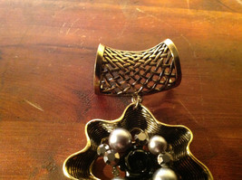 Attractive Metallic Beads Crystals and Black Flower Gold Tone Scarf Pendant image 3