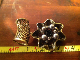 Attractive Metallic Beads Crystals and Black Flower Gold Tone Scarf Pendant image 4