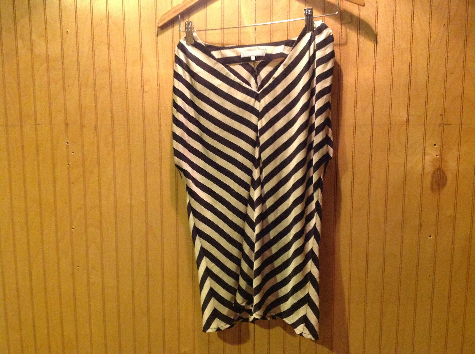 V Neck Zebra Striped Silk Like Sleeveless Blouse Size Medium