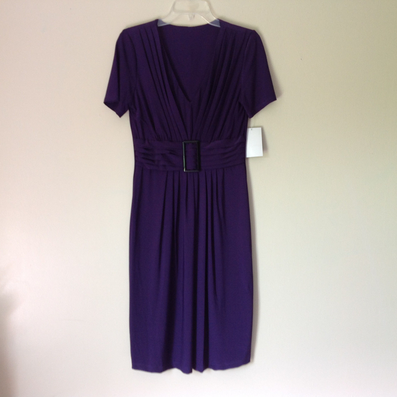 V Neck Short Sleeve Purple Elegant Dress NEW with Tag Size 8 and Size 10