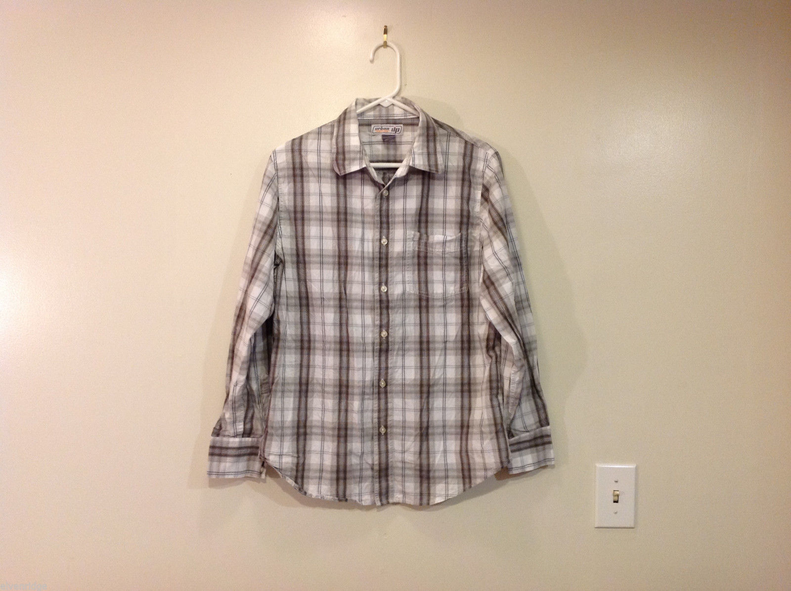Urban Up Pipeline Plaid Long Sleeve Shirt, Size M, 100% cotton
