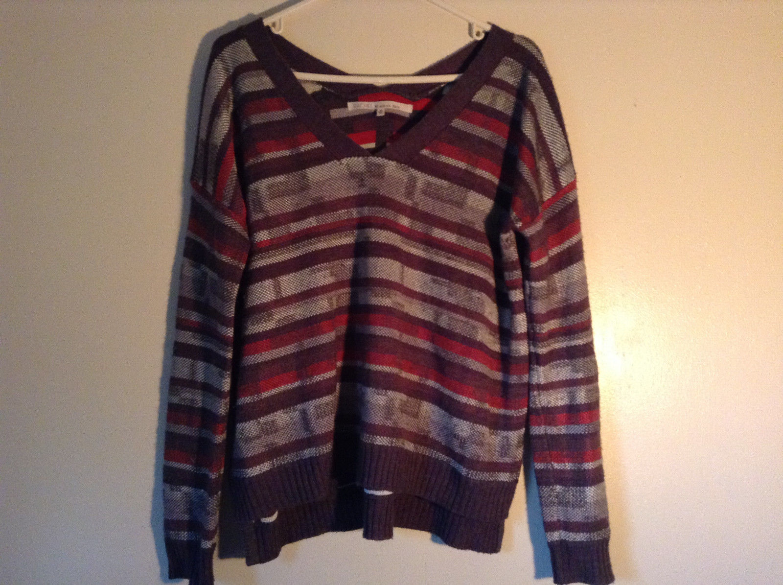 V Neck Gray Sweater by Rachel Roy Striped Red White Long Sleeves Size Medium