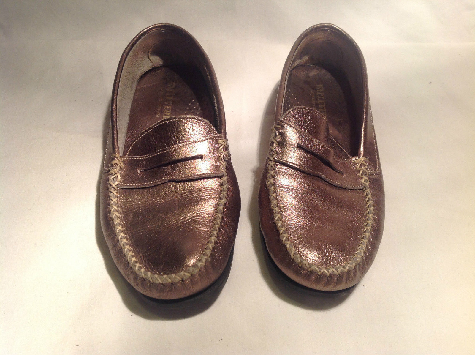 Valleverde Metallic Gold Colored Loafers La Moda Comoda Made in Italy Size 38 EU