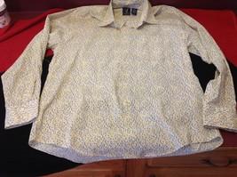 Van Heusen women's floral yellow light brown long sleeve blouse size medium