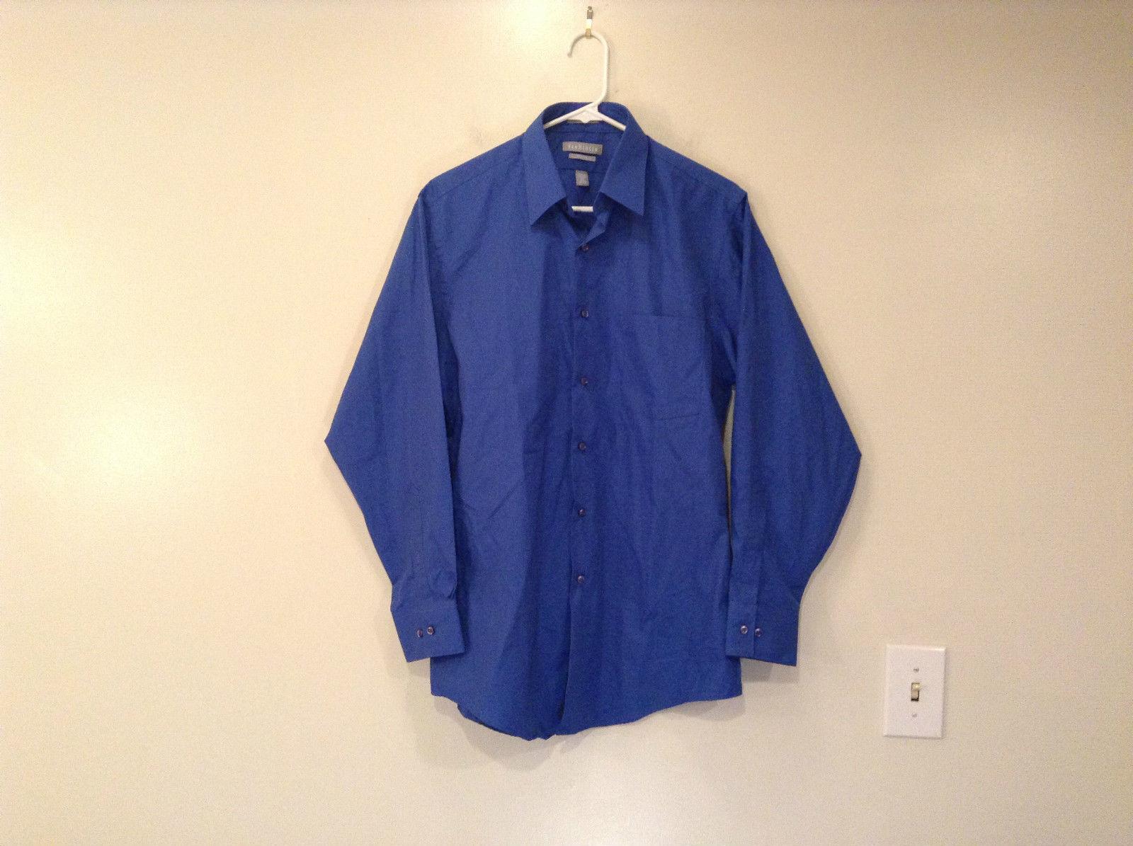 Van Heusen Deep Blue Button Front Long Sleeve Shirt Size 32 to 33