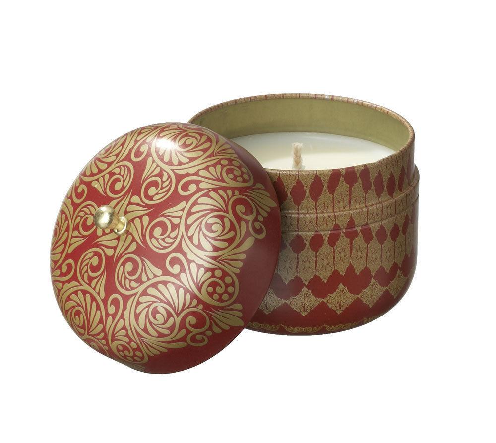 Veda Vintage Tin Travel Candle Ruby Gratitude Clarity Orange Cedar Namaste