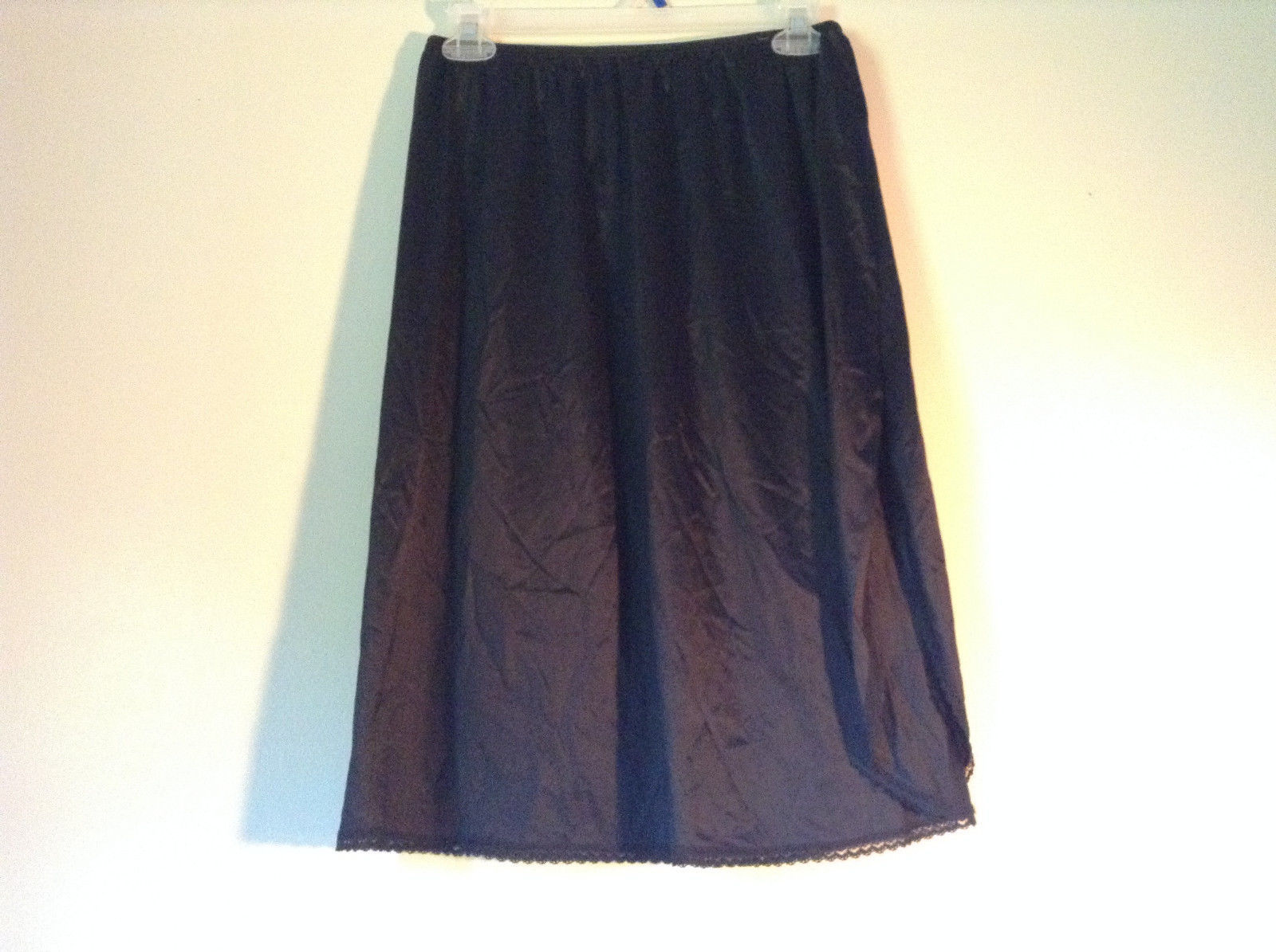 Vanity Fair Size Large Black Skirt with Stretchy Waist and Lace on Bottom
