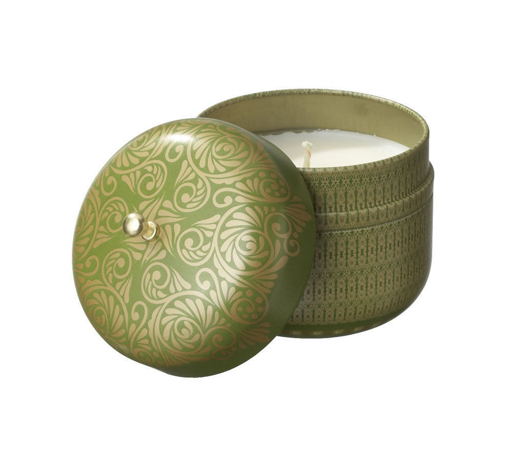 Veda Vintage Tin Travel Candle Emerald Serenity Cooling Pitta berry mint sage