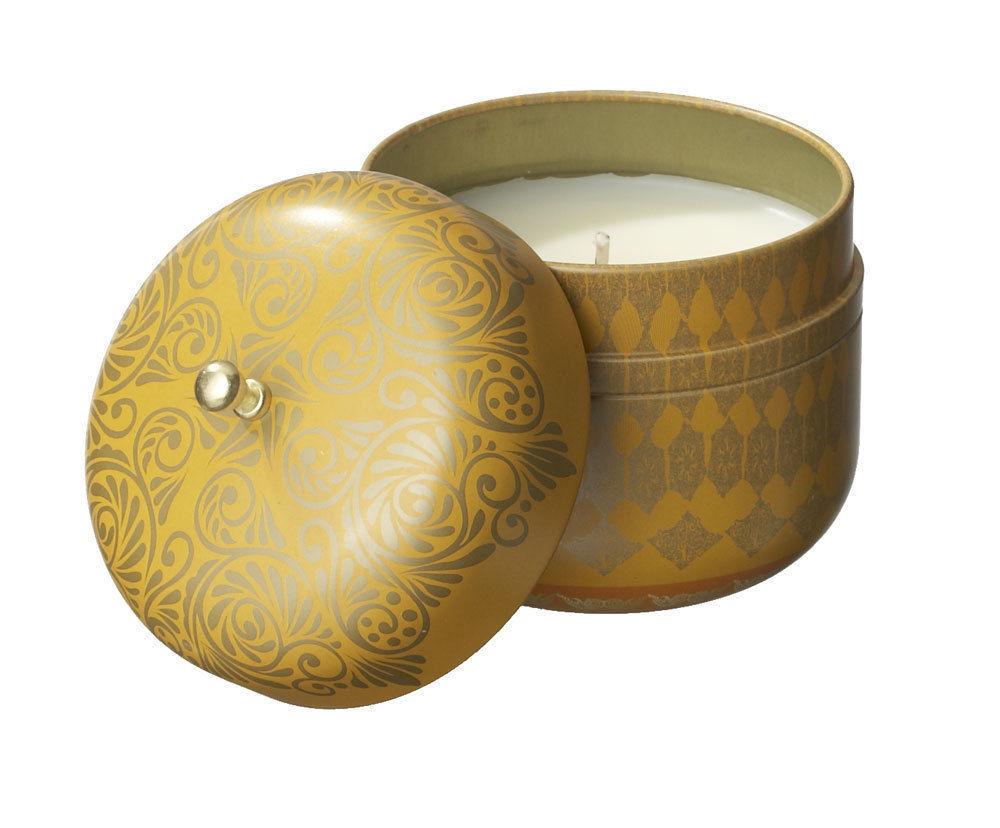 Veda Vintage Tin Travel Candle Topaz Focus Calming Vata Fruit creative energy