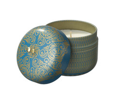 Veda Vintage Tin Travel Candle Sapphire Invigoration Energy Kapha Ocean Protect
