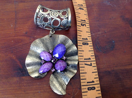 Attractive Purple Stones and Crystals Gold Tone Scarf Pendant by Magic Scarf image 5