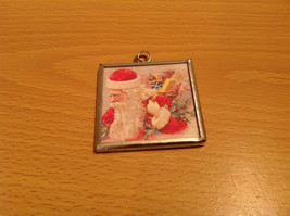 Versatile Reversible Believe and Santa Charm Present Tie On Tag Metal Glass Tag