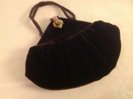 Velvet petite brown bag with satin interior rhinestone clasp hand detailed strap