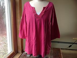 Venezia Bright Pink Bead Embellished Three Quarter Length Sleeves Size 18 to 20
