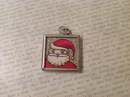 Versatile Reversible Santa in Red to Green Costume Metal Glass Tag Charm Pendant