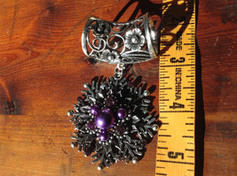Attractive Purple Beads and Crystal Silver Tone Snowflake Shaped Scarf Pendant image 4