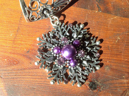 Attractive Purple Beads and Crystal Silver Tone Snowflake Shaped Scarf Pendant image 2