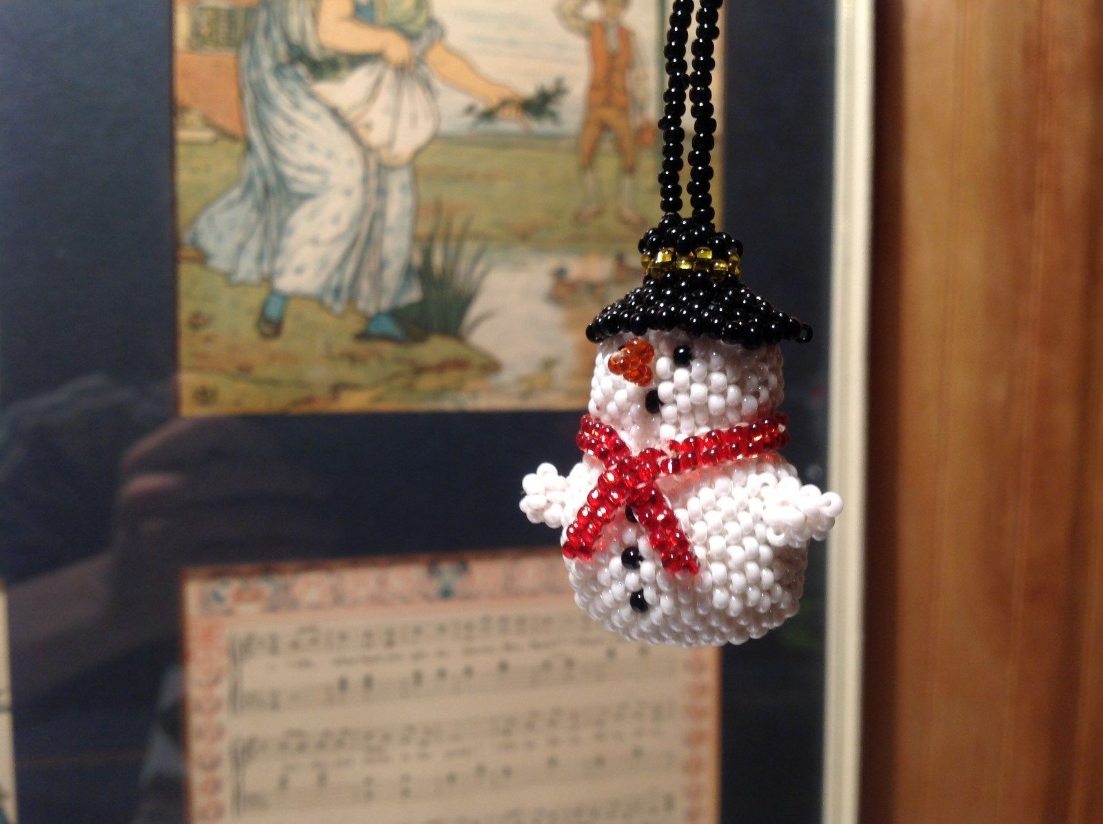 Very Cute Handmade Beaded String Snowman Ornament Black Beaded Hat Red Scarf