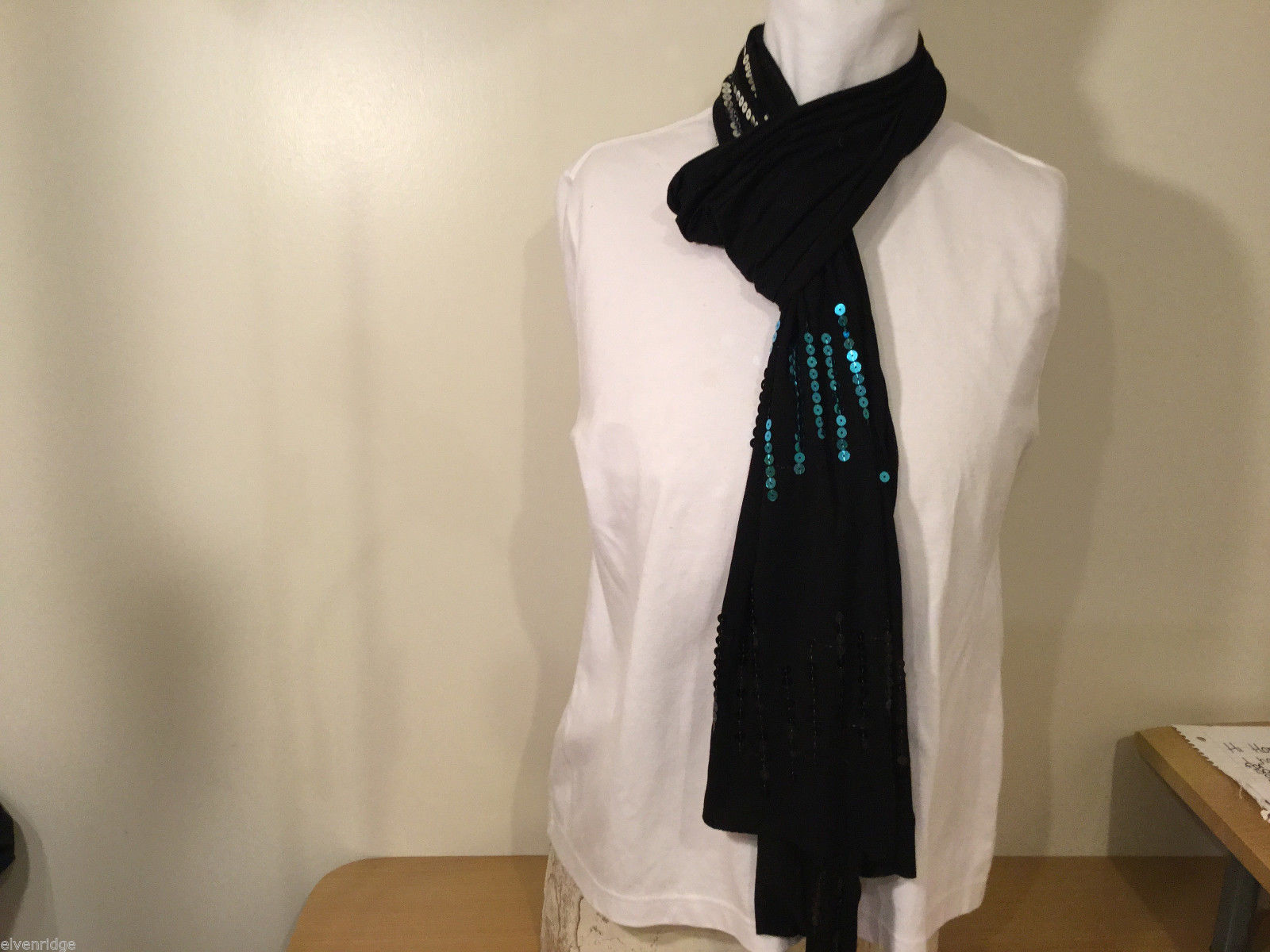 "Very Long Black Multicolor Sequins Stripes Scarf, 90"" Long"