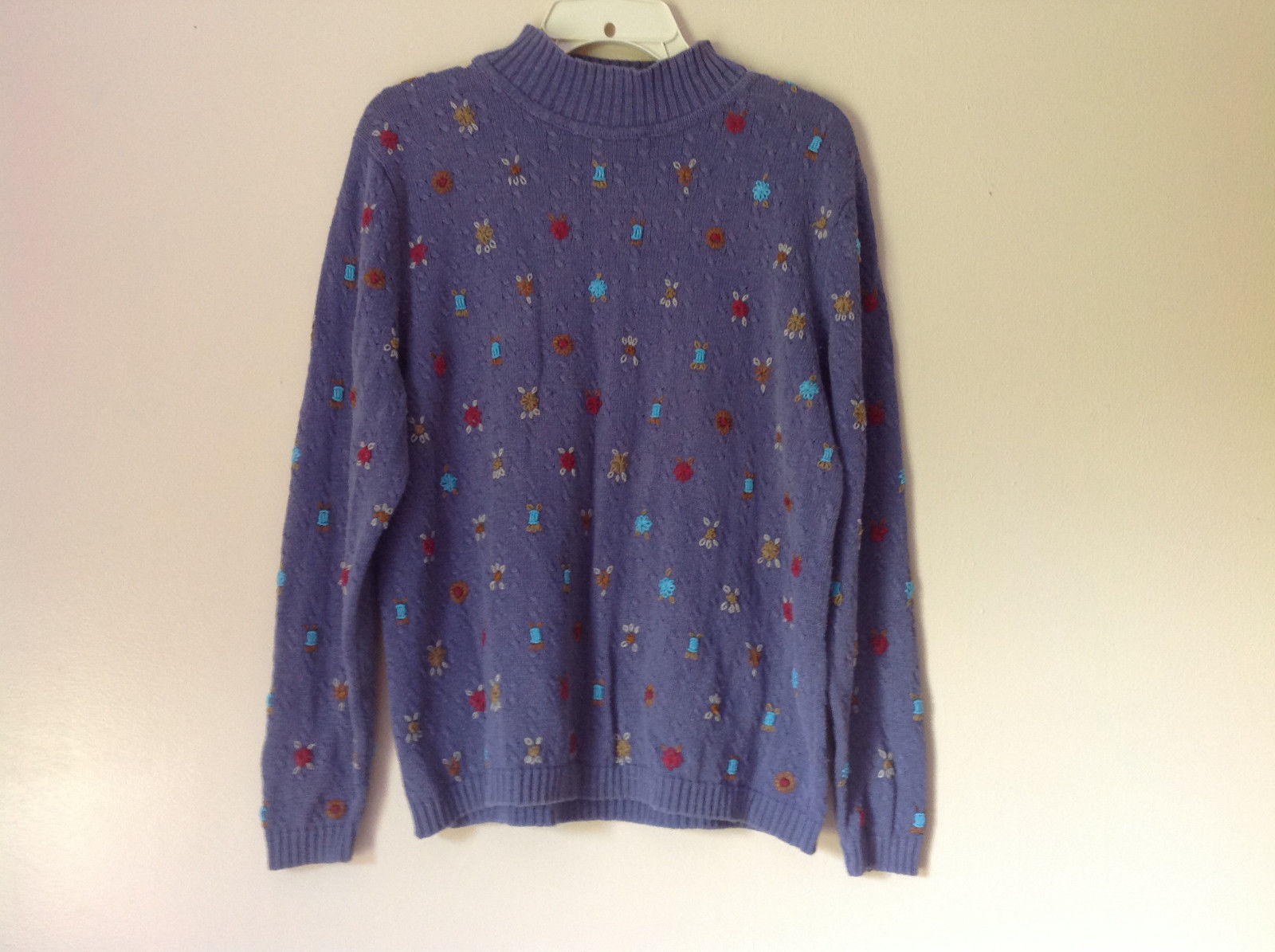 Very Cute Stonebridge Purple Turtleneck Sweater with Knitted Flowers Size XL