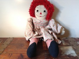 Very Cute Handmade Raggedy Ann Doll in Floral Dress with Red Hair