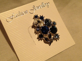 Attractive Blue White Black Crystal Silver Tone Pine Bouquet of Flowers Design image 2