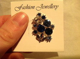 Attractive Blue White Black Crystal Silver Tone Pine Bouquet of Flowers Design image 5