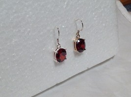 Attractive Oval Red CZ Stone Silver Dangling Earrings image 2
