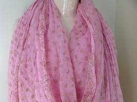 Scrunched Style Pink Real Gold Stamped Embossed Beaded Scarf Beaded Tassels image 3