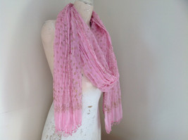 Scrunched Style Pink Real Gold Stamped Embossed Beaded Scarf Beaded Tassels image 5