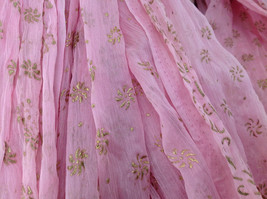 Scrunched Style Pink Real Gold Stamped Embossed Beaded Scarf Beaded Tassels image 4