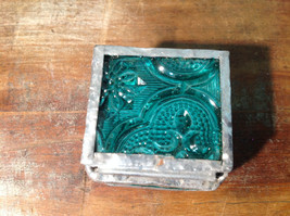 Sea Green Embossed Glass Ring Box Mirrored Bottom Paisley Designed Glass image 5