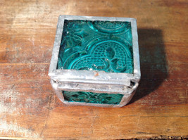 Sea Green Embossed Glass Ring Box Mirrored Bottom Paisley Designed Glass image 4