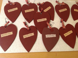 """Set of 11 Wooden Red Heart Tree Ornaments """"DREAM BIG"""" with ribbons image 5"""