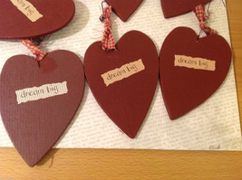 """Set of 11 Wooden Red Heart Tree Ornaments """"DREAM BIG"""" with ribbons image 3"""