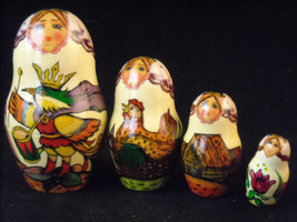 Set of 10 Large Russian Nesting Doll Lacquered Wood folk tale scenes  Shebabonof image 7