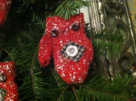 Set of 12 Red Knit Snow Covered Mitten Christmas Ornaments image 3