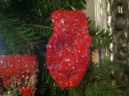 Set of 12 Red Knit Snow Covered Mitten Christmas Ornaments image 5