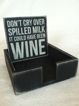 Set of 4 Wooden Black Bar Coasters Funny Sayings - NEW - wine related image 4