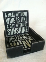 Set of 4 Wooden Black Bar Coasters Funny Sayings - NEW - wine related image 5