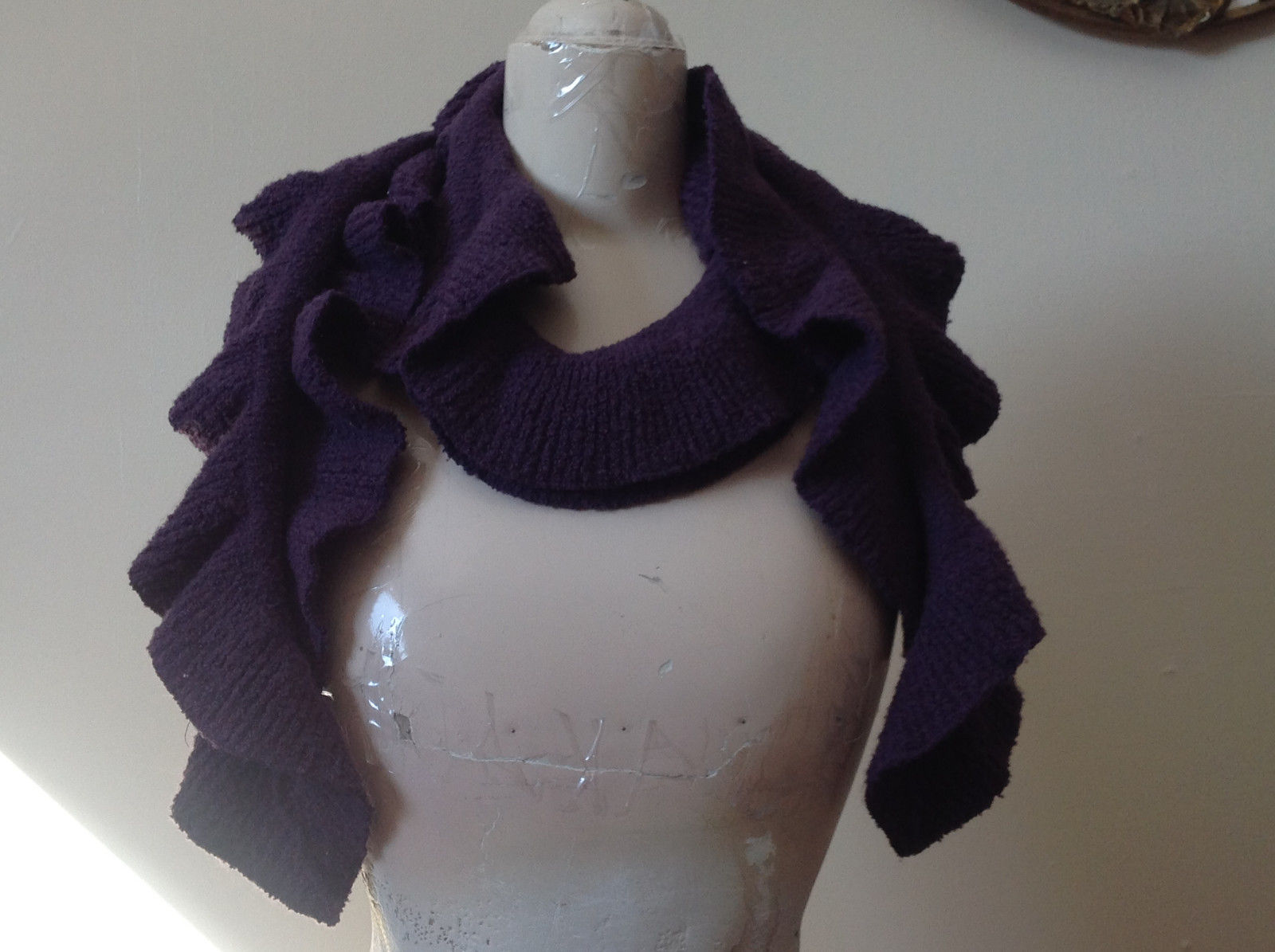 Very Pretty Coldwater Creek Purple Ruffle Scarf  68 Inches Long