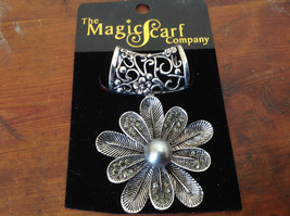 Very Pretty Crystals Flower Silver Tone Finish Scarf Pendant by Magic Scarf