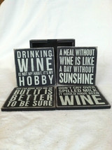 Set of 4 Wooden Black Bar Coasters Funny Sayings - NEW - wine related image 3