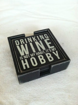 Set of 4 Wooden Black Bar Coasters Funny Sayings - NEW - wine related image 6