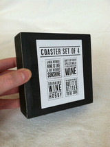 Set of 4 Wooden Black Bar Coasters Funny Sayings - NEW - wine related image 7