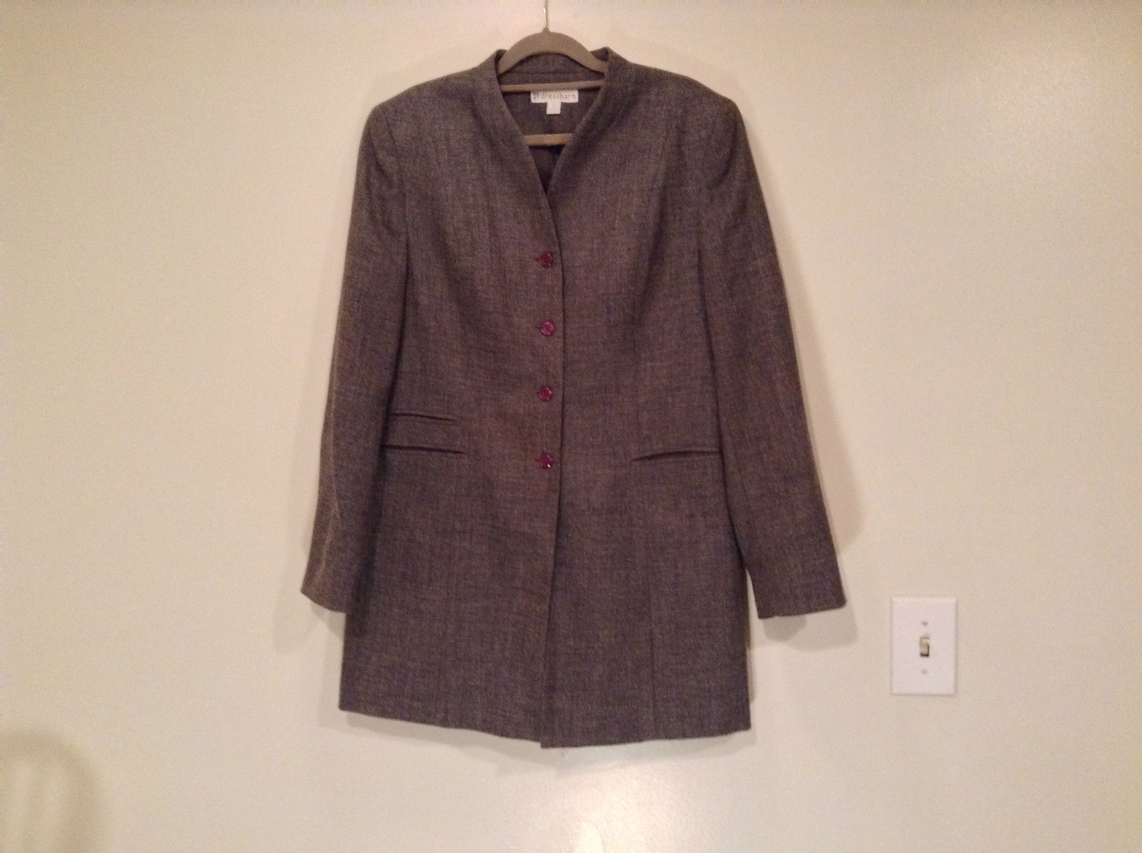 Very Nice Long Gray Dressbarn 100 Percent Polyester Fully Lined Blazer Size 12