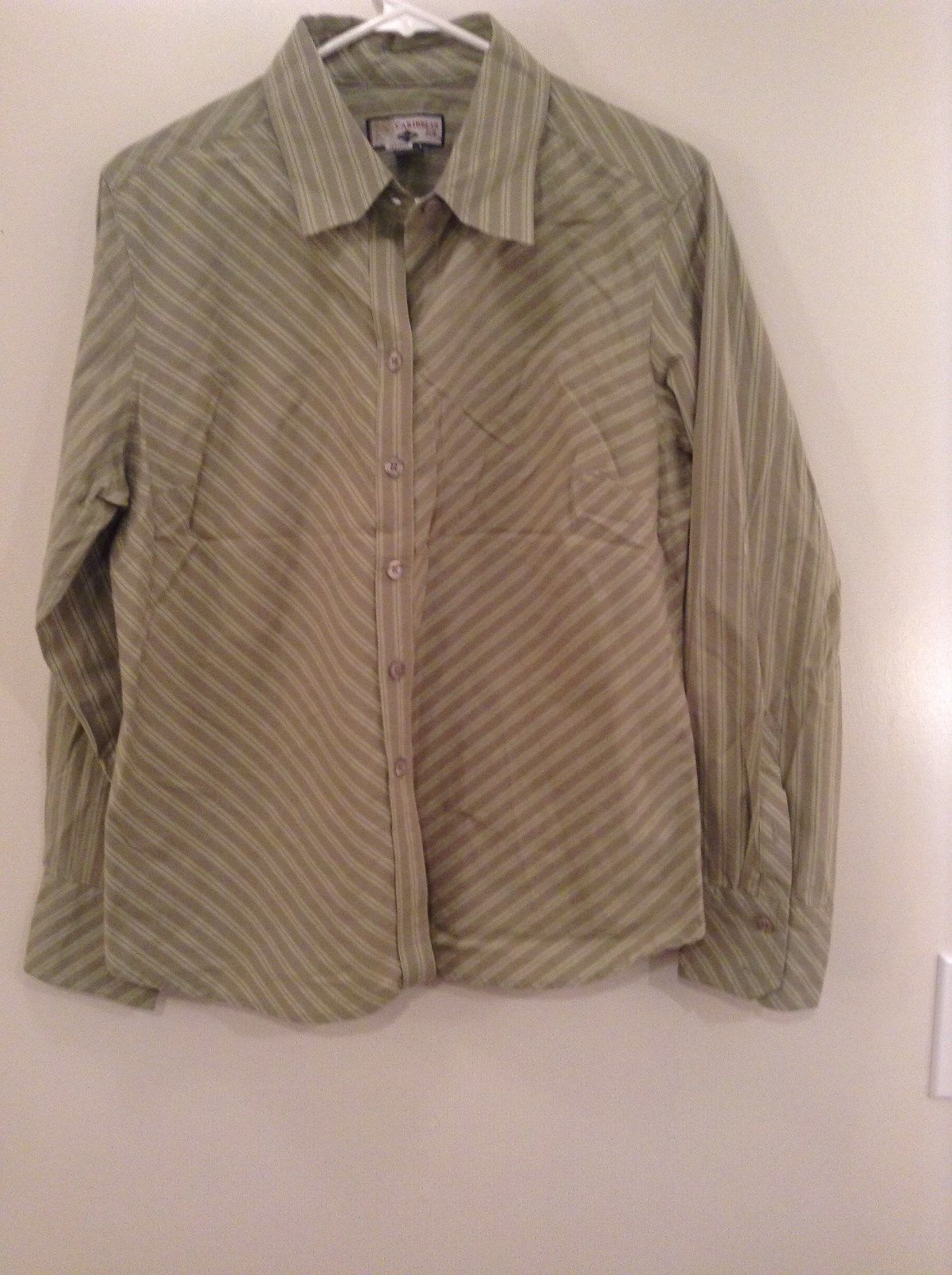 Very Nice Green Striped Button Up Long Sleeve Shirt Carribean Joe Size Large